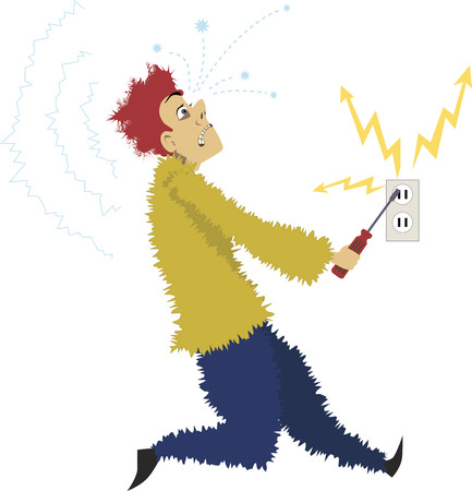 Cartoon man gets electrocuted sticking a screwdriver into an electric socket, vector illustration