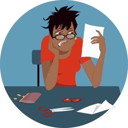 regret: Credit card debt. Disheveled upset black woman looking at a credit card bill, cut card in front of her on a table, circular background, vector illustration Illustration
