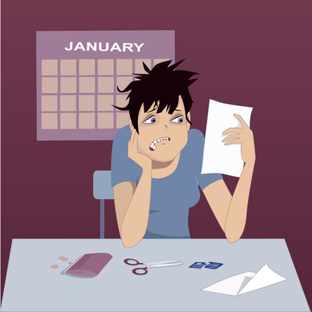 few: Upset woman looking at a credit card bill, cut credit card, scissors, wallet and a few coins in front of her on a table, January calendar on the background, vector illustration Illustration