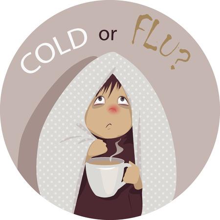 """Verkoudheid of griep? Een zieke, gewikkeld in een deken, met een kop warme drank en kijken naar de vraag """"verkoudheid of griep?"""" boven zijn hoofd, geen transparanten EPS 8 vector cartoon"""