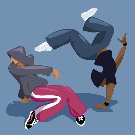 Break dancers. Two young men b-boying or break dancing, vector illustration Ilustrace