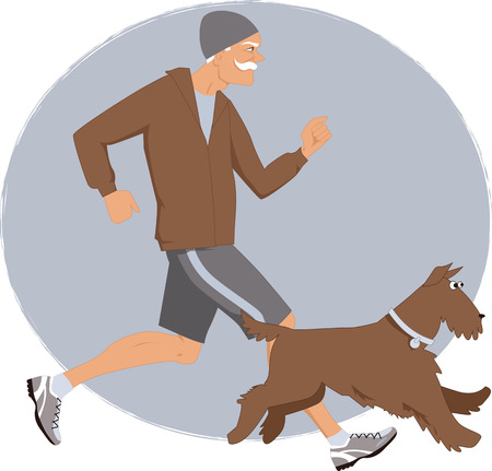 Energetic senior man jogging with his Airedale terrier dog, vector illustration
