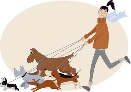 donna che corre: Dog walker. Giovane donna in esecuzione con un gruppo di cani di razze diverse, cartone animato di vettore, non lucidi