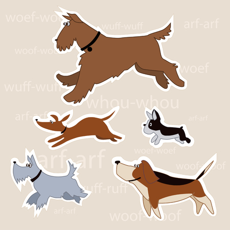 airedale terrier: Set of five vector illustrations of cartoon dogs with Aerdel terrier, schnauzer, dashhound, bulldog and beagle isolated with a clipping path