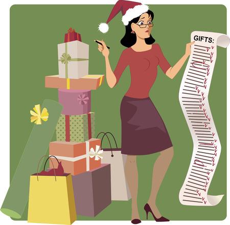 긴 크리스마스 쇼핑 목록에서 이름을 건너 산타 모자 스트레스 여성, 그녀의 발에 선물의 더미, 벡터 만화