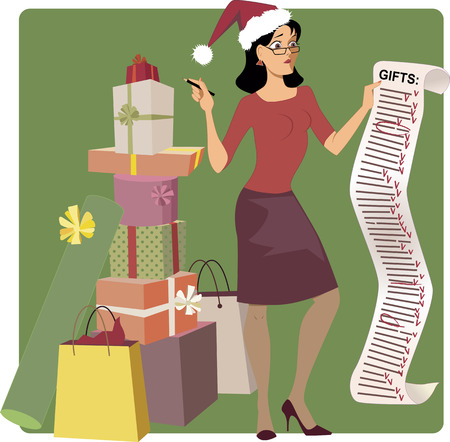 Stressed woman in a Santa hat crossing out names from a long Christmas shopping list, pile of gifts at her feet, vector cartoon