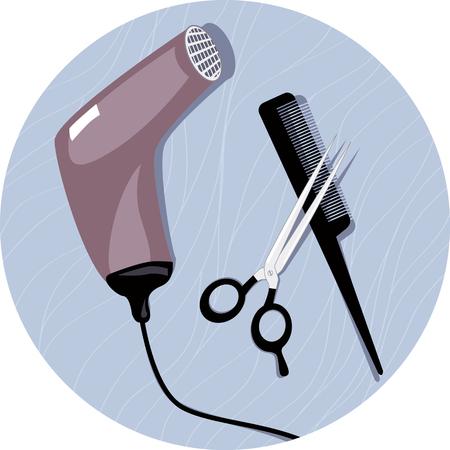 secador de pelo: Herramientas del peluquero. Ilustración realista del vector de un secador de pelo, tijeras profesionales y un peine en un fondo del círculo, ilustración vectorial, sin transparencias