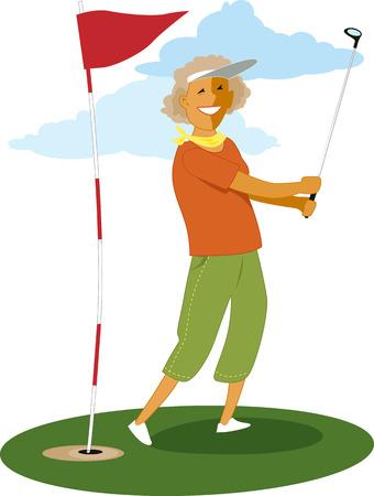 Senior female golfer Stock Illustratie