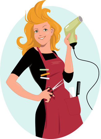 cartoon hairdresser: Hairdresser. Young redhead woman posing with a hairdryer and scissors, vector illustration, no transparencies EPS 8