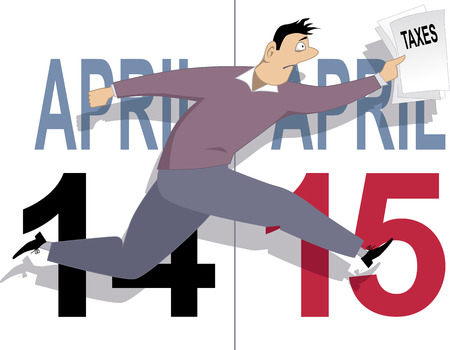 Tax day in USA. Worried cartoon man running with a tax forms in his hand, calendar pages for April 14 and 15 on the background, vector illustration