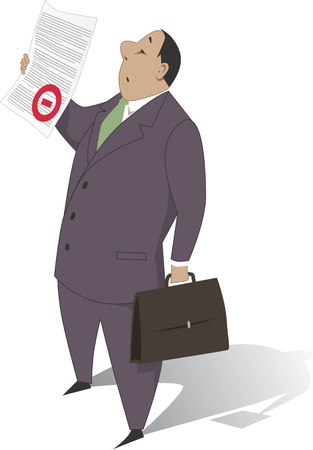 bureaucrat: Bureaucracy. A man in business suit holding a document with a red stamp of rejection on it, vector illustration, no transparencies
