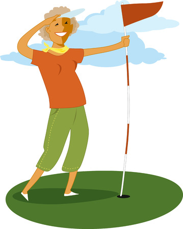 retirement age: Senior woman holding a golf flag, vector illustration