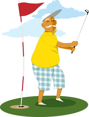 senior exercise: Man over 60 playing golf, vector cartoon, no transparencies EPS 8