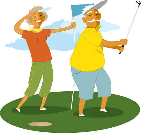 Senior paar golfen Stock Illustratie
