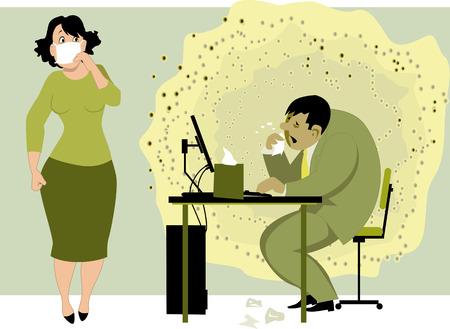 resfriado comun: El ir a trabajar con una gripe. Hombre enfermo con una nube de virus a su alrededor se sientan en la oficina en la computadora, asustado colleauge femenina sosteniendo una m�scara de cara a la nariz, ilustraci�n vectorial