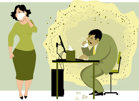 Going to work with a flu. Sick man with a cloud of viruses around him sitting in the office at the computer, scared female colleauge holding a face mask to her nose, vector illustration Ilustrace