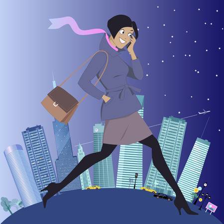 night: From day to night. Young woman walking and talking on her cellphone, urban background showing changes from daytime to nighttime