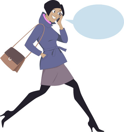 smart phone woman: Young energetic woman walking and talking on a cell phone, isolated on white, with a speech bubble
