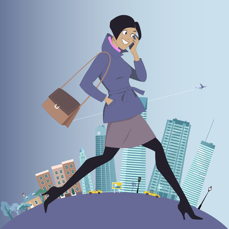 suburbs: Young woman going to work from suburbs to the city Illustration