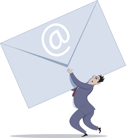 envelop: Email overload. A businessman holding a giant envelop representing incoming e-mails, vector illustration, no transparencies