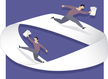 documents circulation: Man running with papers on a Moebius strip, vector illustration Illustration