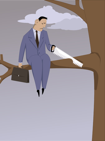 sabotage: Self-sabotage. Depressed man sawing off a branch he is sitting on, vector illustration