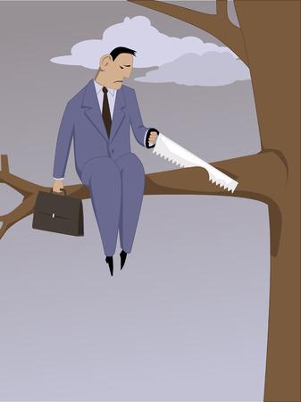 Self-sabotaggio. Uomo depresso segare un ramo si è seduto su, illustrazione vettoriale Vettoriali