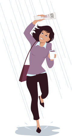 Young smiling woman running, covering herself with a newspaper from the rain, vector illustration