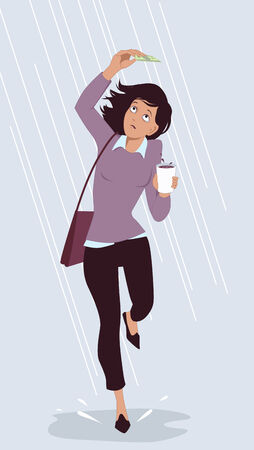 Saving for a rainy day. Woman trying to hide from a rain under a dollar bill as a metaphor for an sufficient savings, vector illustration