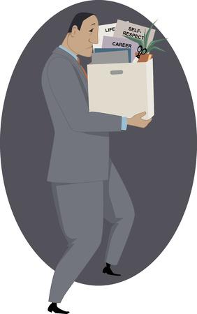 彼の持ち物のボックスと悲しい発射男ベクトル イラスト  イラスト・ベクター素材