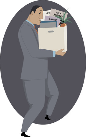 belongings: Sad fired man with a box of his belongings, vector illustration Illustration