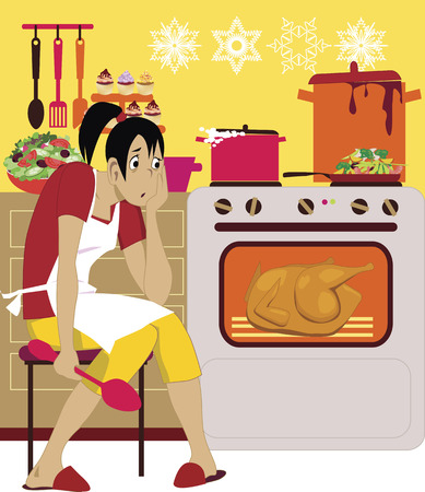 holiday dinner: Exhausted woman in an apron sitting at the kitchen, preparing a holiday dinner, vector illustration