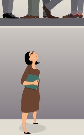 frau nach oben schauen: Glasdecke. Frau im B�ro der Suche an die Decke, M�nner F��e in der n�chsten Etage zu sehen, vector illustraiton Illustration