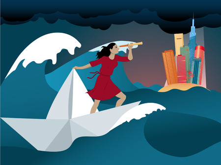 new opportunity: Woman standing on a paper boat in the middle of a stormy ocean