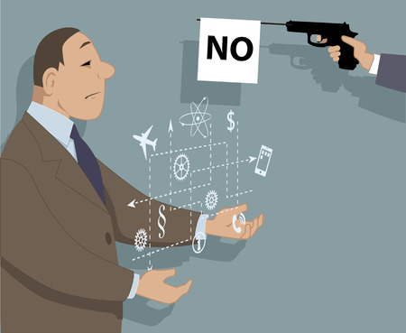 Innovation and rejection. A person showing a virtual modal of a proposal, a prop gun with a flag saying no sticking to his face