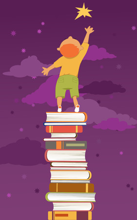 smart boy: Reading is important. Boy, standing on a pile of book, reaching for a star.
