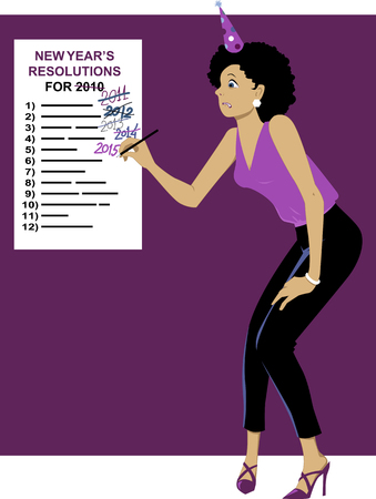 sticking: Sticking to your New Years resolutions Illustration