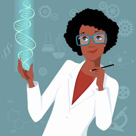 Woman in science. Attractive black woman in a lab coat looking at a DNA molecule, scientific symbols on the square background, vector illustration, no transparencies Illustration