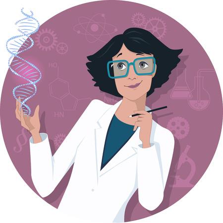 Female scientist Stock Illustratie