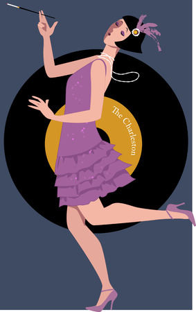retro woman: Flapper dancing the Charleston Illustration