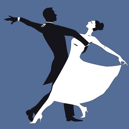 Black and white silhouette of a couple dancing waltz, isolated on blue, vector illustration Çizim