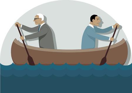 Twee zakenlieden, een jonge en een oudere, roeien in de verschillende richtingen in een kano, vector illustratie