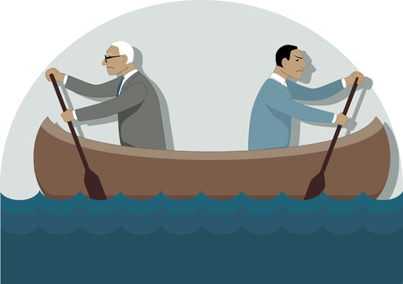 sabotage: Two businessmen, one young and one older, rowing in the different directions in a canoe, vector illustration Illustration
