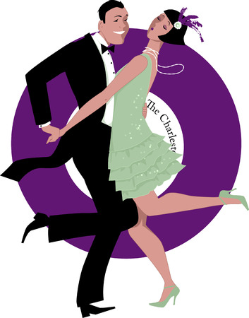 Couple dressed in 1920s fashion dancing the Charleston, a gramophone record on the background, vector illustration