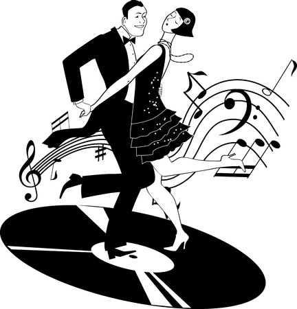 flapper: Black and white vector clip-art of a couple dressed in 1920s fashion dancing the Charleston on a gramophone record