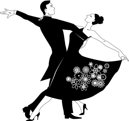 Black vector silhouette clip art of a couple dancing waltz, no white, will look the same on any color background Illustration