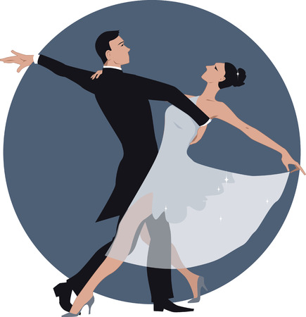 Vector illustration of a couple dancing waltz, no transparencies, ESP 8 Ilustração