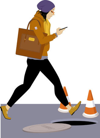 Young girl checking her mobile phone and walking into an open manhole, vector illustration