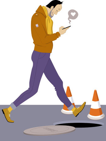 mobile app: Love message. Happy man looking at his smart-phone and walking into an open manhole, vector illustration