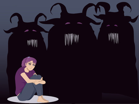 sad lonely girl: Monsters of your soul Illustration